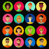 Men characters vector set. 16 different men icons. Cartoon male characters set. Colrful illustration Vector Illustration