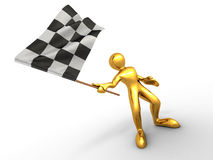 Men with checkered flag Royalty Free Stock Photo
