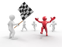 Men with checkered flag. 3d Royalty Free Stock Images