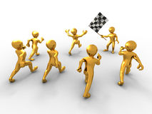 Men with checkered flag. 3d Stock Image