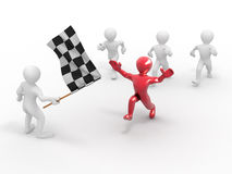 Men with checkered flag Royalty Free Stock Images
