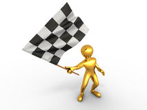 Men with checkered flag Royalty Free Stock Photos