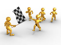 Men with checkered flag. 3d Stock Images