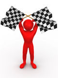 Men with checkered flags Royalty Free Stock Image
