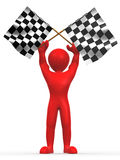 Men with checkered flags Royalty Free Stock Images
