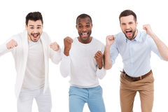 Men cheering. Stock Image