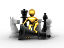Men with chess Stock Photos