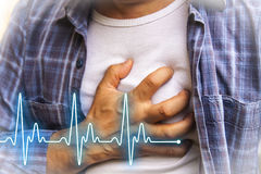 Men with chest pain - heart attack Royalty Free Stock Photos