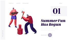 Men Chopping Wood. Guy with Ax Trying to Cut Log, Friend Hold Timbers. People Spend Time Outdoors in Village. Active Lifestyle. Website Landing Page, Web Page vector illustration