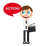 Men with clapper board Royalty Free Stock Images