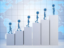 Men climbing a graph. 3D business men climbing a graph with one confident business man on top Stock Photo