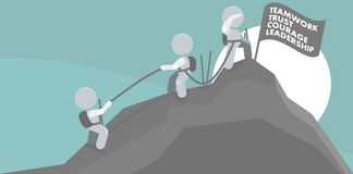 Men Climbing Mountain Summit Teamwork Illustration stock images