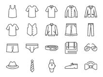 Men clothes icon set. Included the icons as shorts, workwear, fashion, jean, shirt, pants, accessories and more. Vector and illustration: Men clothes icon set royalty free illustration