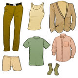 Men clothes icons. Vector illustration of cool Men clothes icon set Royalty Free Stock Image