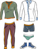 Men clothes objects cartoon set Stock Photo