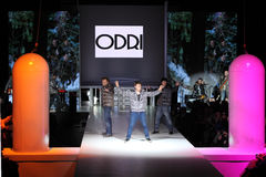 Men in clothes from ODRI at Volvo Fashion Week Stock Photography
