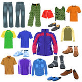 Men clothes. Vector set of men clothes isolated on a white background Royalty Free Stock Photos
