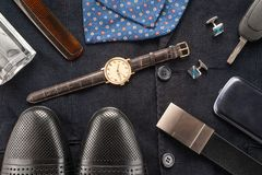 Men clothing and accessories Royalty Free Stock Images