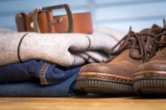 Men clothing asian style vintage with blue jeans Stock Image