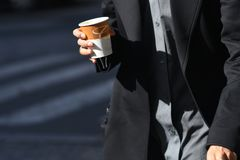 men coffee street stock image