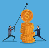 Men collaboration finance coin lifting. Vector illustration eps 10 Stock Images