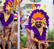 Men in colored feathers at Gay pride parade Stock Image