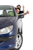 Men coming out from a car Stock Photography