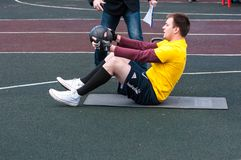 Men compete in fitness Crossfit, Orenburg, Russia Royalty Free Stock Photo