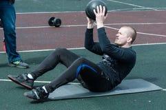 Men compete in fitness Crossfit, Orenburg, Russia Stock Photo
