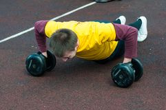 Men compete in fitness Crossfit, Orenburg, Russia Stock Images