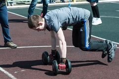 Men compete in fitness Crossfit, Orenburg, Russia Royalty Free Stock Photos
