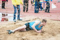 Men compete in long jump, Orenburg, Russia Royalty Free Stock Images