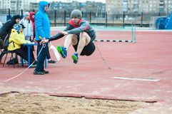 Men compete in long jump, Orenburg, Russia Royalty Free Stock Photography