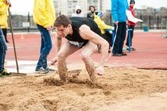 Men compete in long jump, Orenburg, Russia Royalty Free Stock Image