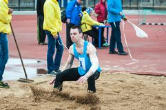 Men compete in long jump, Orenburg, Russia Stock Image