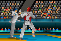Men Competing in a Taekwondo Competition Royalty Free Stock Photography