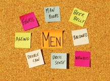 Men concerns. Concept of men issues with color notes Royalty Free Stock Photos