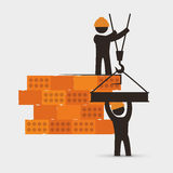 Men construction brick wall crane cooperation. Illustration eps 10 Stock Photo