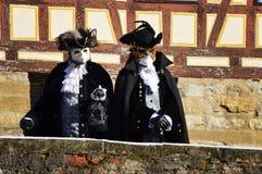 Men costumed as venetian counts Stock Images