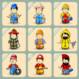Men in costumes of different professions. Cartoon men in costumes of different professions. A set of nine figures. Vector illustration Stock Images