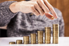 Men counting coins Stock Photo