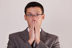 Men covered his mouth hand Royalty Free Stock Photos