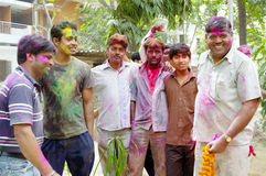 Men covered in paint for Holi festival Stock Image