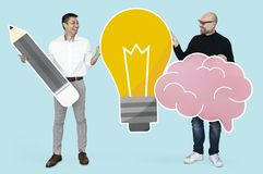 Men with creative ideas showing light bulb and brain icons royalty free stock photos