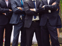 Men with Crossed Hands. Groom and groomsmen standing with crossed hands Royalty Free Stock Photography