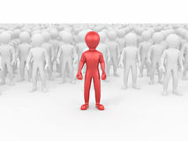 Men in crowd. Conceptual image of individuality. 3d Stock Photo