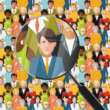 Men in crowd under magnifying glass, flat illustration. Men in crowd under magnifying glass, flat square illustration Royalty Free Stock Photo