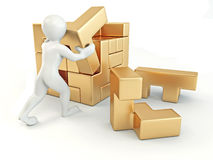 Men with a cube built from blocks. Puzzle Royalty Free Stock Photo
