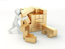 Men with a cube built from blocks. Puzzle Stock Photography