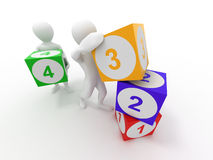 Men with cubes. Numbers Royalty Free Stock Images